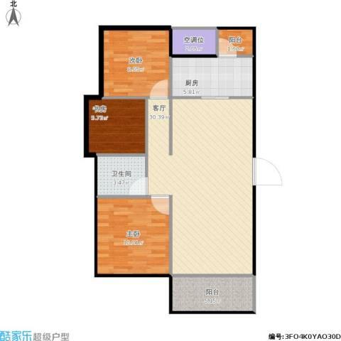 龙湖湘风原著3室1厅1卫1厨110.00㎡户型图