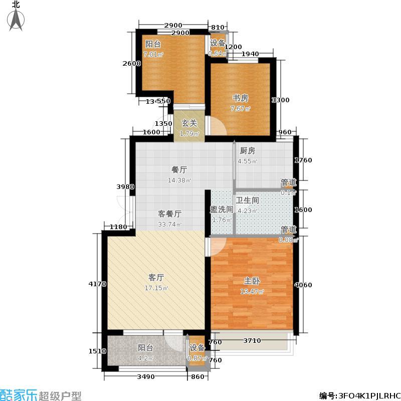 空港家园91.00㎡一期小高层B户型2室2厅