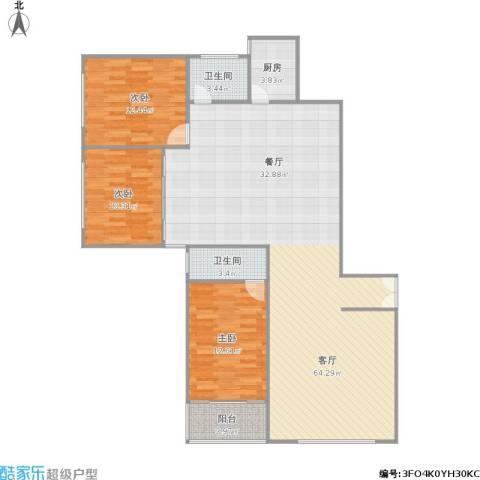 华侨大厦3室1厅2卫1厨152.00㎡户型图