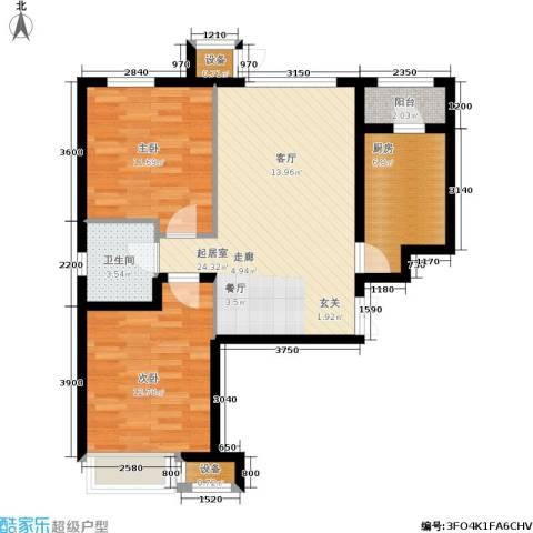 龙城帝景2室0厅1卫1厨88.00㎡户型图