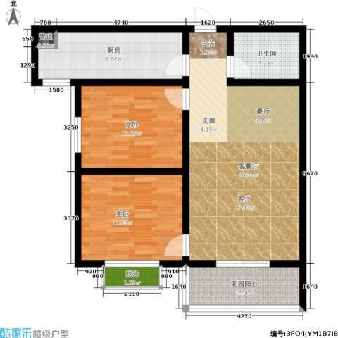 滨河御园2室1厅1卫1厨82.00㎡户型图