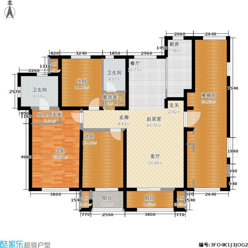 珑著168.00㎡8、9号楼标准层G户型3室2厅