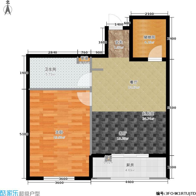 强佑·清河新城75.94㎡二期5号楼1单元A2首层户型1室2厅