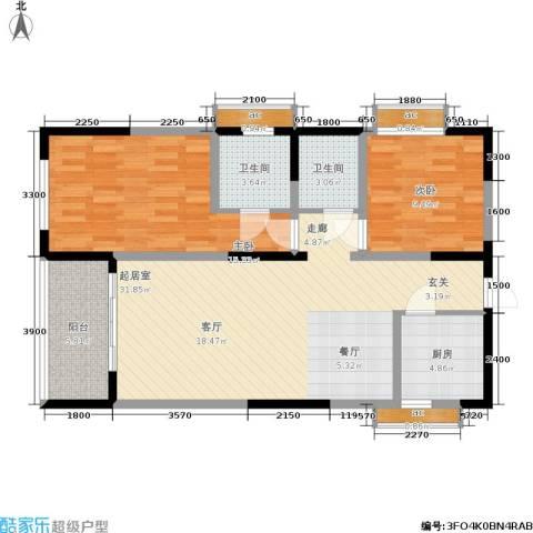 荣鼎・新苑2室0厅2卫1厨81.00㎡户型图