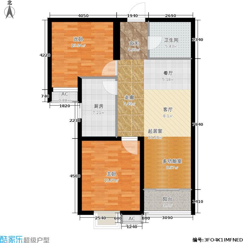 天洲视界城89.99㎡B区一号楼D户型3室2厅
