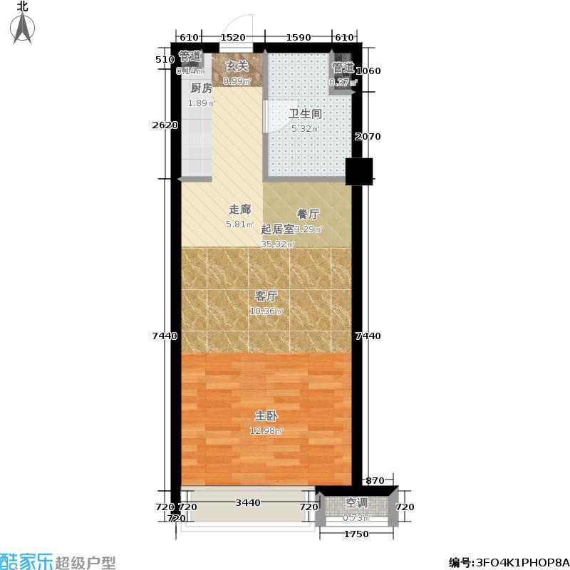 三迪曼哈顿47.00㎡B户型1室1厅