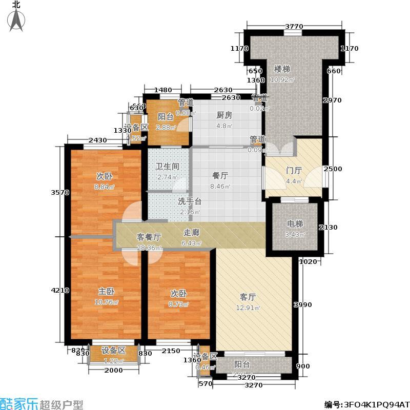 华润玖玺宫105.00㎡3居户型3室2厅