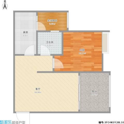 融创伊顿濠庭1室1厅1卫1厨65.00㎡户型图