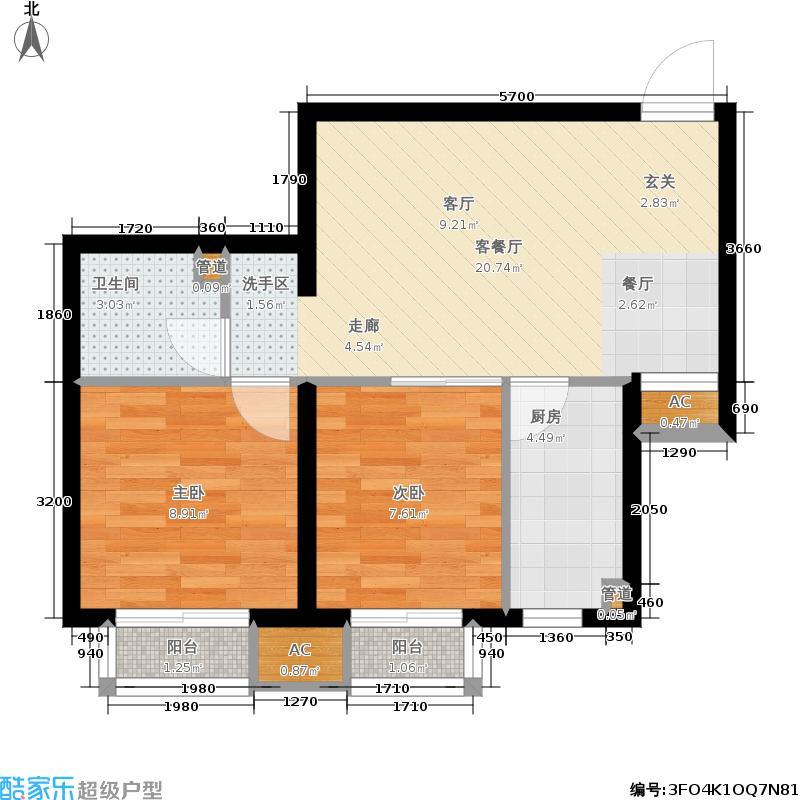 尚湖名筑66.34㎡1#、4#楼标准层面积6634m户型