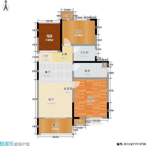 城开新都雅苑3室0厅1卫1厨89.00㎡户型图