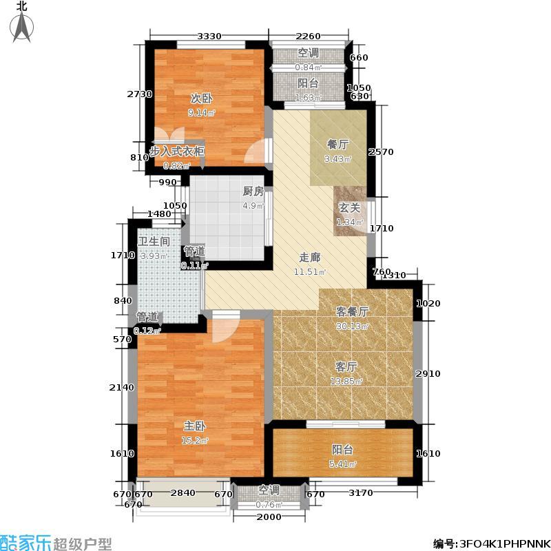 经纬城市绿洲五期学士逸居家园86.00㎡A2户型2室2厅