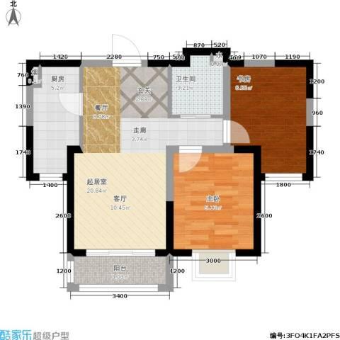 紫金江尚2室0厅1卫1厨73.00㎡户型图