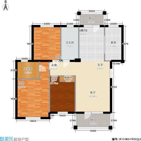 鲁能东方优山美地3室0厅2卫1厨136.00㎡户型图