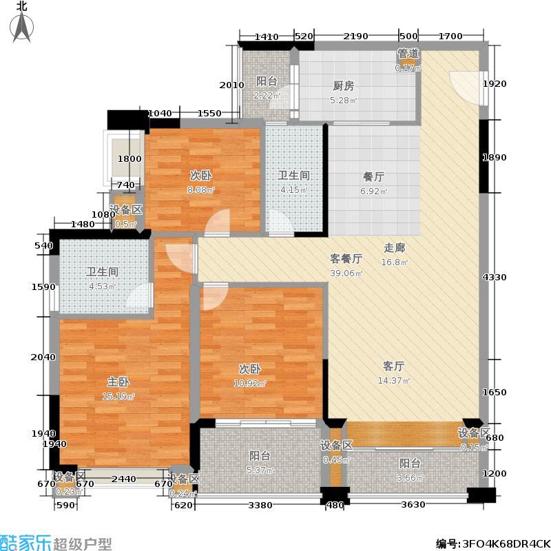 中海塞纳时光户型图25栋1-2单元D型3房2厅2卫116.48-120.57㎡(3/19张)