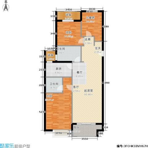 万达广场3室0厅2卫1厨128.00㎡户型图