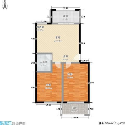 鑫河湾2室0厅1卫1厨91.00㎡户型图