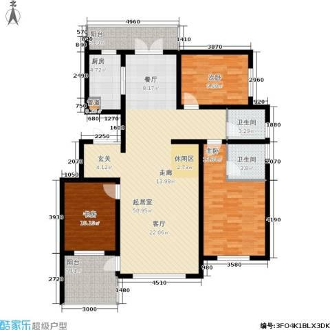 恒景溪山壹號3室0厅2卫1厨159.00㎡户型图