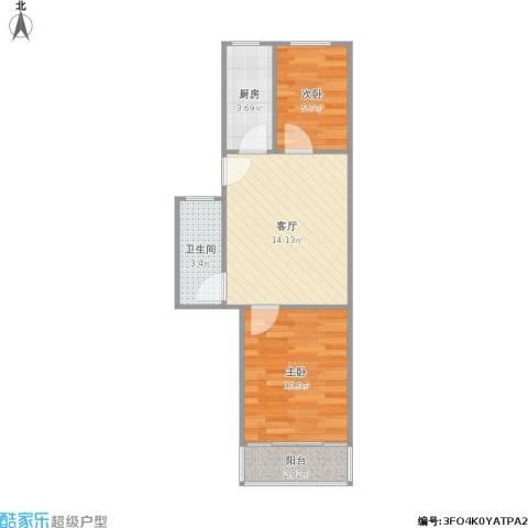 白云园2室1厅1卫1厨44.15㎡户型图