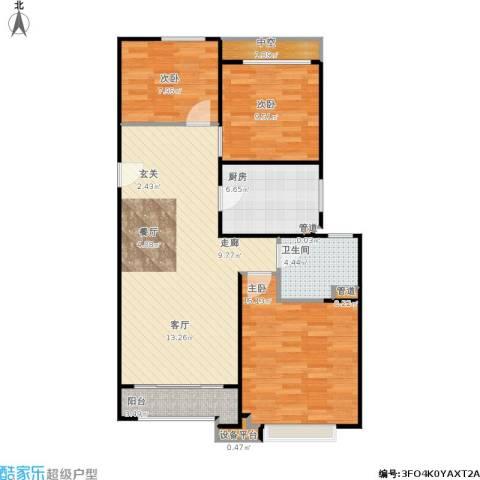 绿地21城滨江汇3室1厅1卫1厨108.00㎡户型图