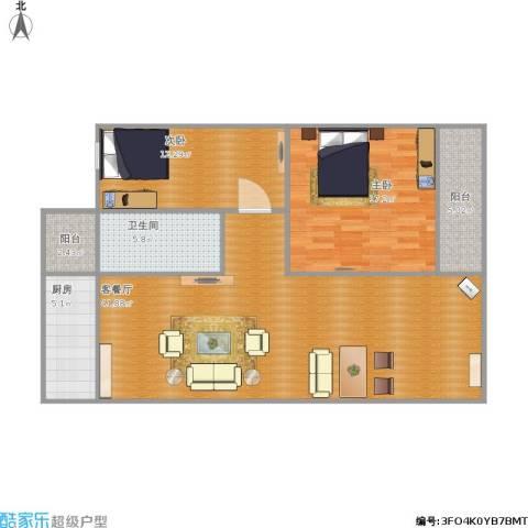 东华苑2室1厅1卫1厨120.00㎡户型图