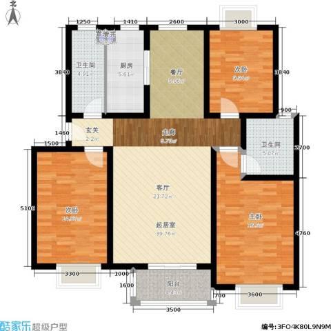 昊城蓝湾3室0厅2卫1厨126.00㎡户型图