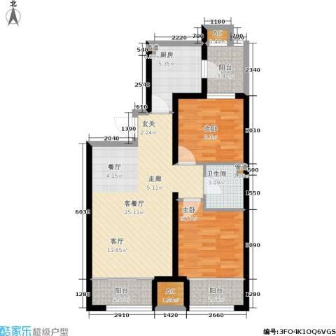 尚湖名筑2室1厅1卫1厨89.00㎡户型图
