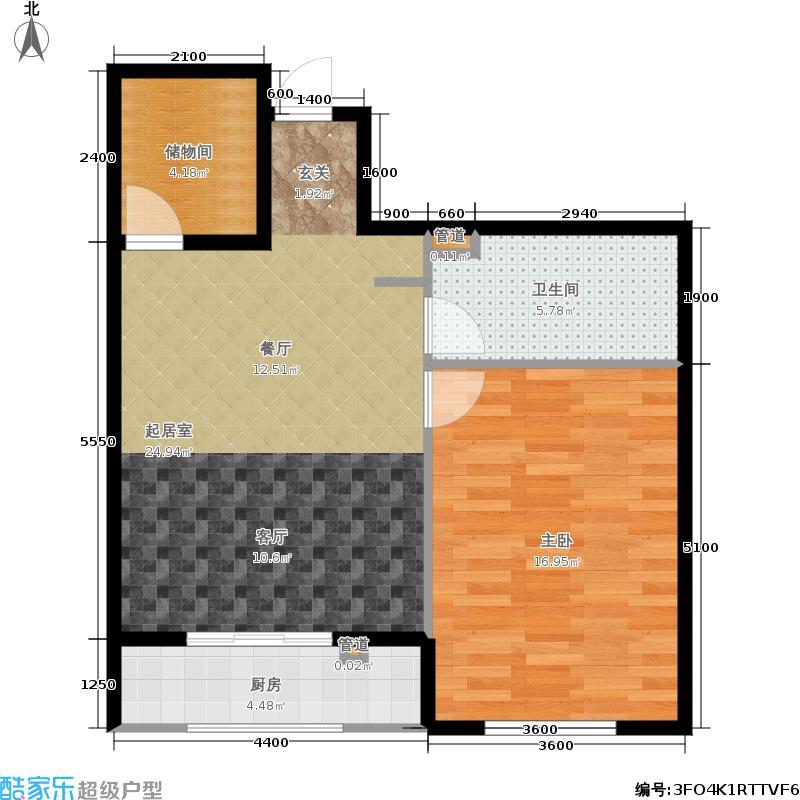 强佑·清河新城76.10㎡二期5号楼3单元C1首层户型1室2厅