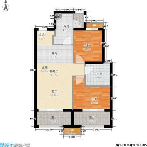 中铁缇香郡2室1厅1卫1厨79.00㎡户型图