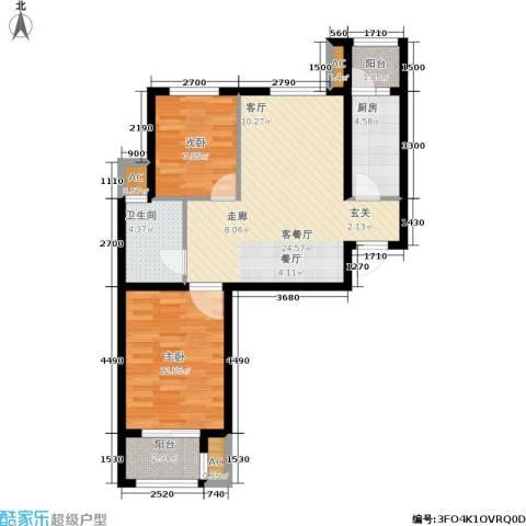 荣川沁园2室1厅1卫1厨89.00㎡户型图