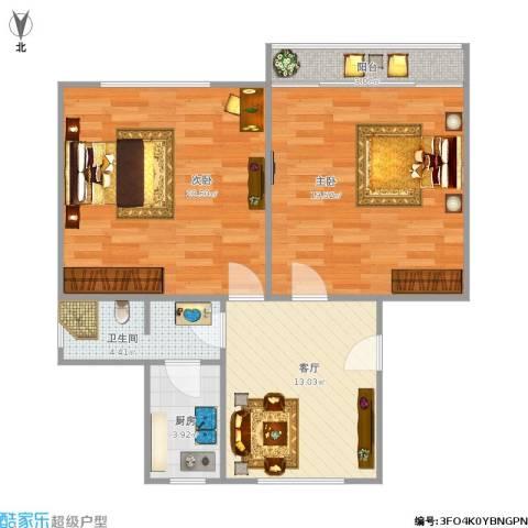 嘉秀坊2室1厅1卫1厨87.00㎡户型图