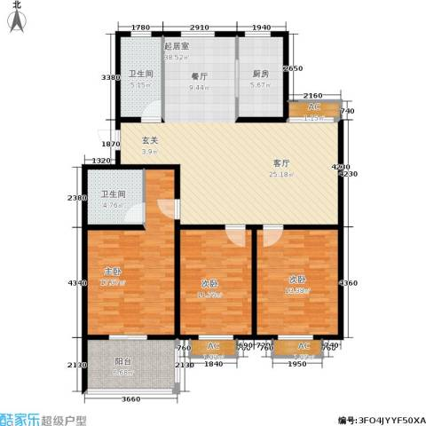 颐园世家3室0厅2卫1厨119.00㎡户型图