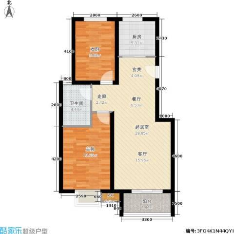 新野蓝郡2室0厅1卫1厨95.00㎡户型图