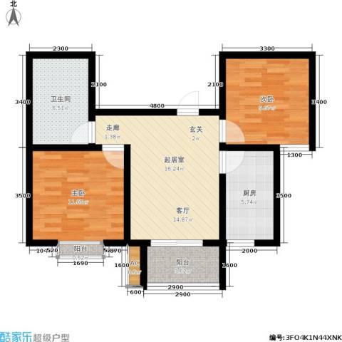 新野蓝郡2室0厅1卫1厨80.00㎡户型图
