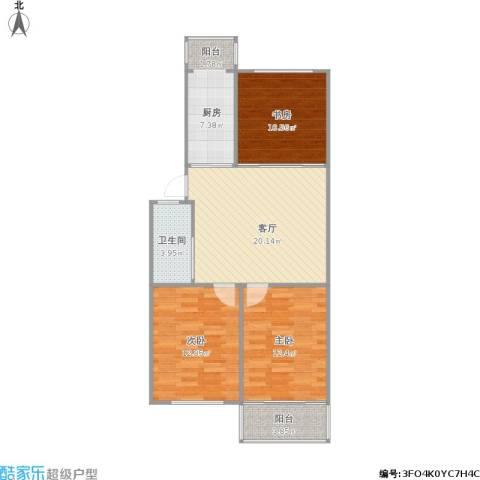 珠江路517号3室1厅1卫1厨96.00㎡户型图