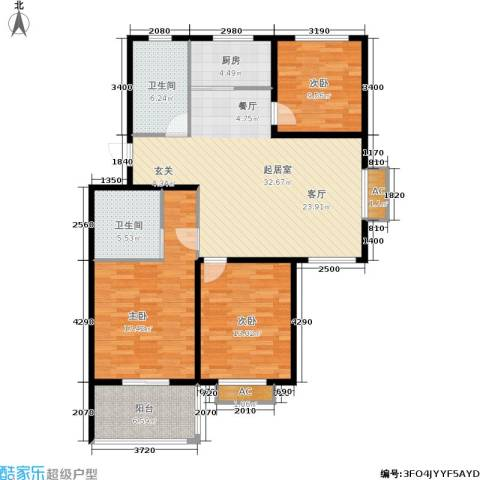 颐园世家3室0厅2卫1厨109.00㎡户型图