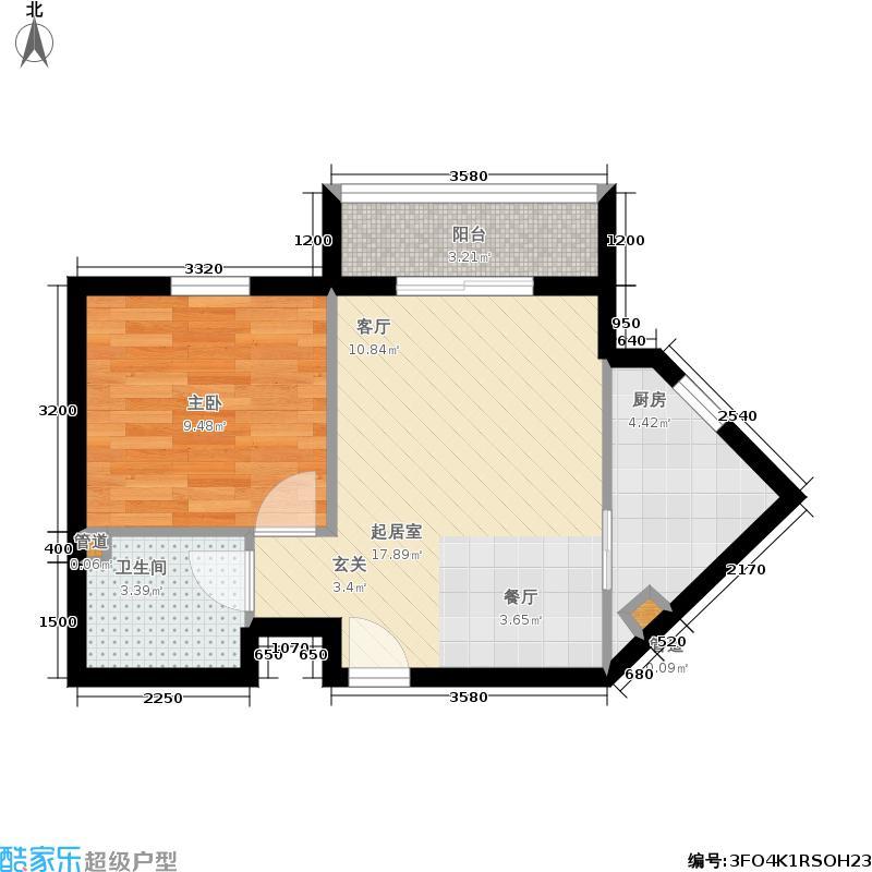 星河城(玺萌公馆)55.48㎡星河城27号楼标准层B户型1室2厅
