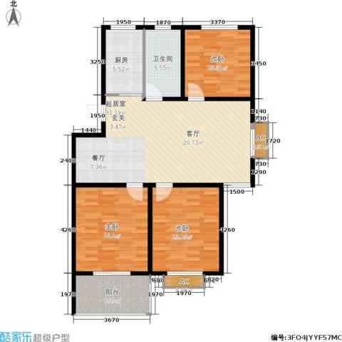 颐园世家3室0厅1卫1厨98.00㎡户型图