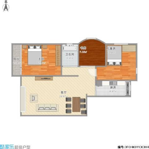 六合・嘉际3室1厅1卫1厨96.00㎡户型图