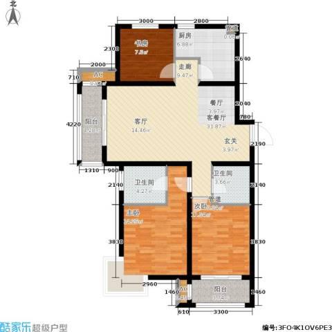 荣川沁园3室1厅2卫1厨134.00㎡户型图