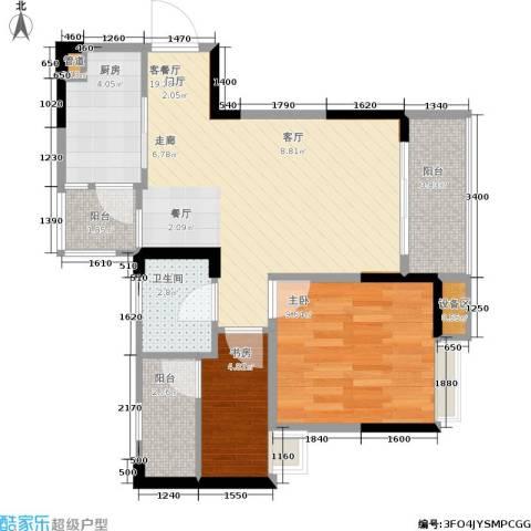 千山米兰郡2室1厅1卫1厨64.00㎡户型图
