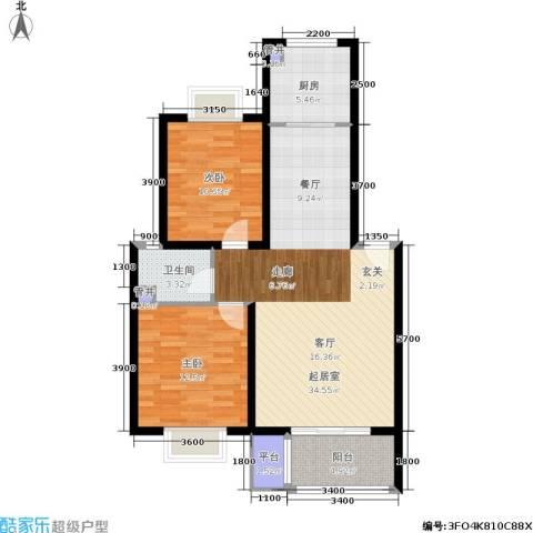 昊城蓝湾2室0厅1卫1厨97.00㎡户型图
