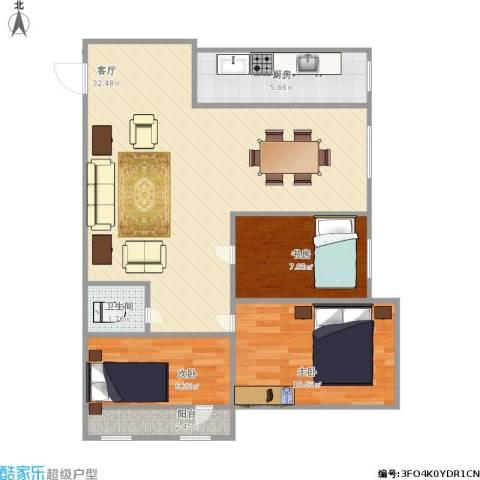 三庆燕庆园3室1厅1卫1厨90.00㎡户型图