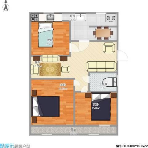 三庆燕柳园3室1厅1卫1厨73.00㎡户型图