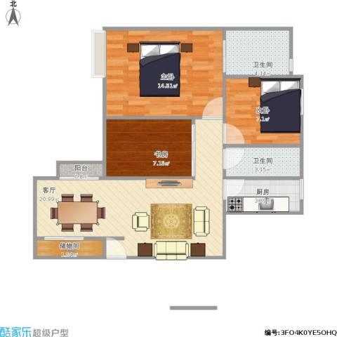 龙军花园3室1厅2卫1厨86.00㎡户型图