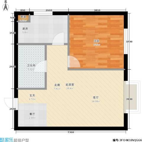 万达广场1室0厅1卫1厨56.00㎡户型图