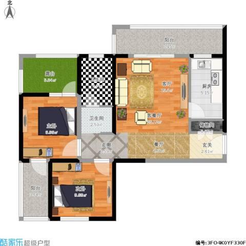 长兴・园湖曲2室1厅1卫1厨100.00㎡户型图