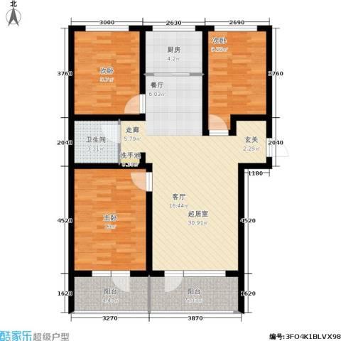 恒景溪山壹號3室0厅1卫1厨115.00㎡户型图
