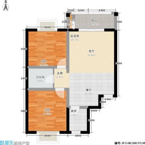 日出东方2室0厅1卫1厨87.00㎡户型图