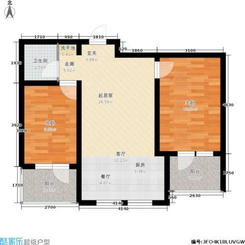恒景溪山壹號2室0厅1卫0厨84.00㎡户型图