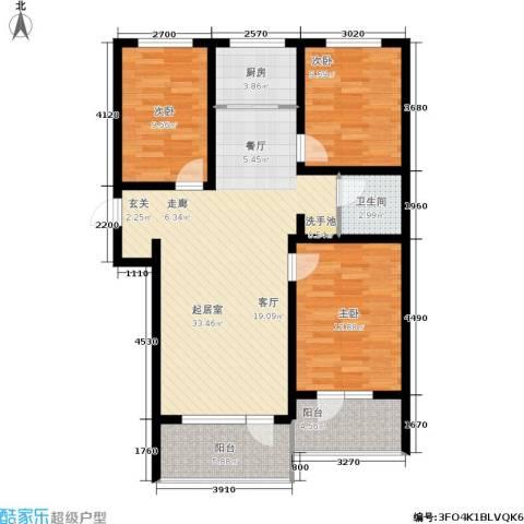 恒景溪山壹號3室0厅1卫1厨119.00㎡户型图